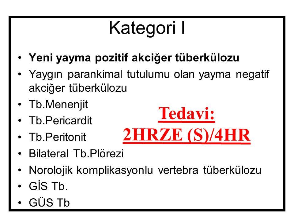 Kategori I Yeni yayma pozitif akciğer tüberkülozu Yaygın parankimal tutulumu olan yayma negatif akciğer tüberkülozu Tb.Menenjit Tb.Pericardit Tb.Perit