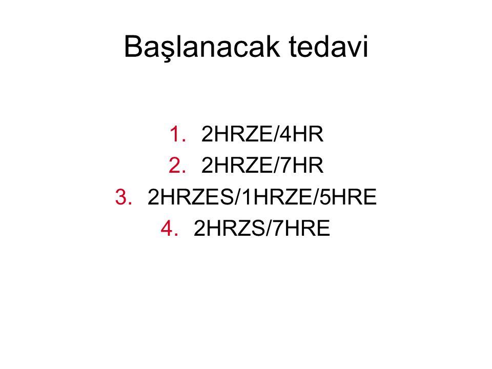 Başlanacak tedavi 1.2HRZE/4HR 2.2HRZE/7HR 3.2HRZES/1HRZE/5HRE 4.2HRZS/7HRE