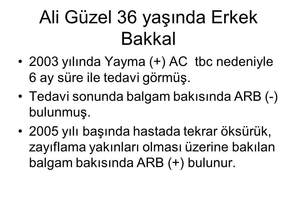 Ali Güzel 36 yaşında Erkek Bakkal 2003 yılında Yayma (+) AC tbc nedeniyle 6 ay süre ile tedavi görmüş. Tedavi sonunda balgam bakısında ARB (-) bulunmu