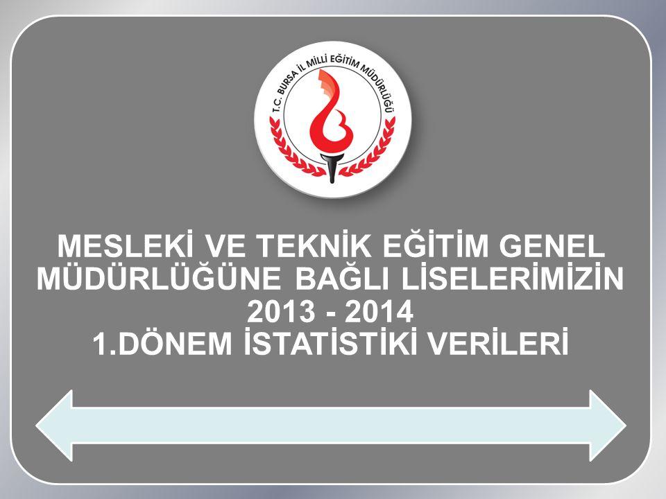 MESLEKİ VE TEKNİK EĞİTİM GENEL MÜDÜRLÜĞÜNE BAĞLI LİSELERİMİZİN 2013 - 2014 1.DÖNEM İSTATİSTİKİ VERİLERİ