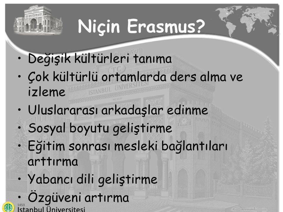 Niçin Erasmus? Değişik kültürleri tanıma Çok kültürlü ortamlarda ders alma ve izleme Uluslararası arkadaşlar edinme Sosyal boyutu geliştirme Eğitim so