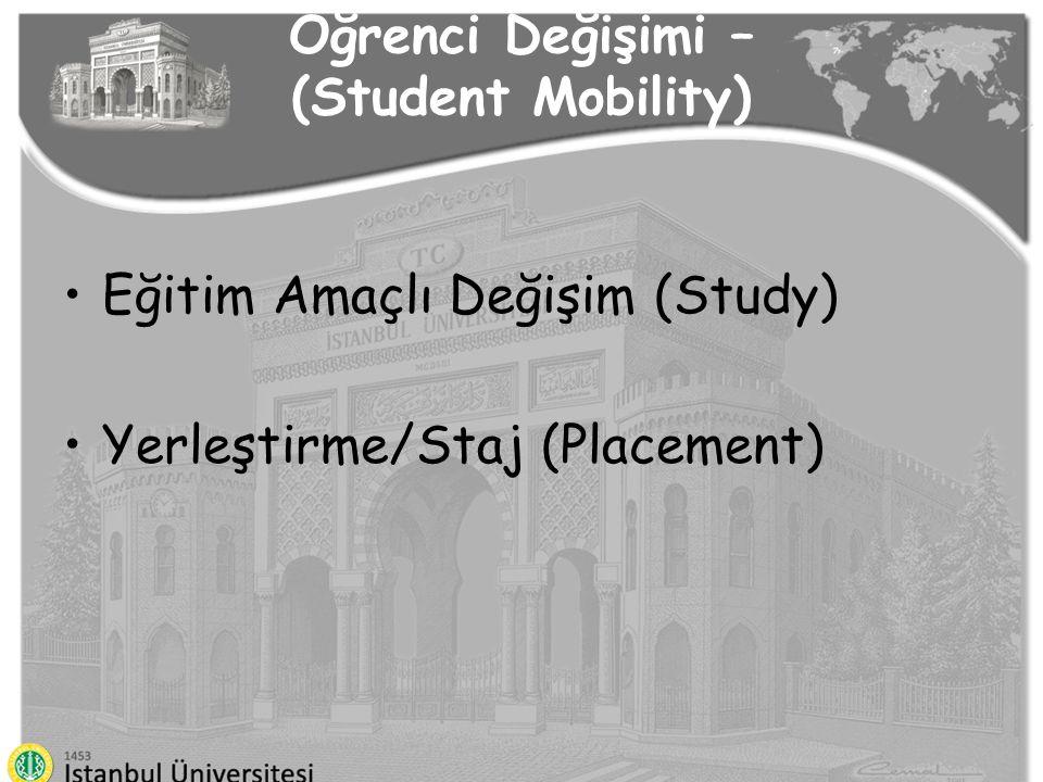 Öğrenci Değişimi – (Student Mobility) Eğitim Amaçlı Değişim (Study) Yerleştirme/Staj (Placement)