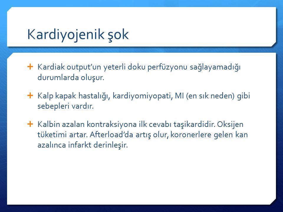 Kardiyojenik şok  Kardiak output'un yeterli doku perfüzyonu sağlayamadığı durumlarda oluşur.
