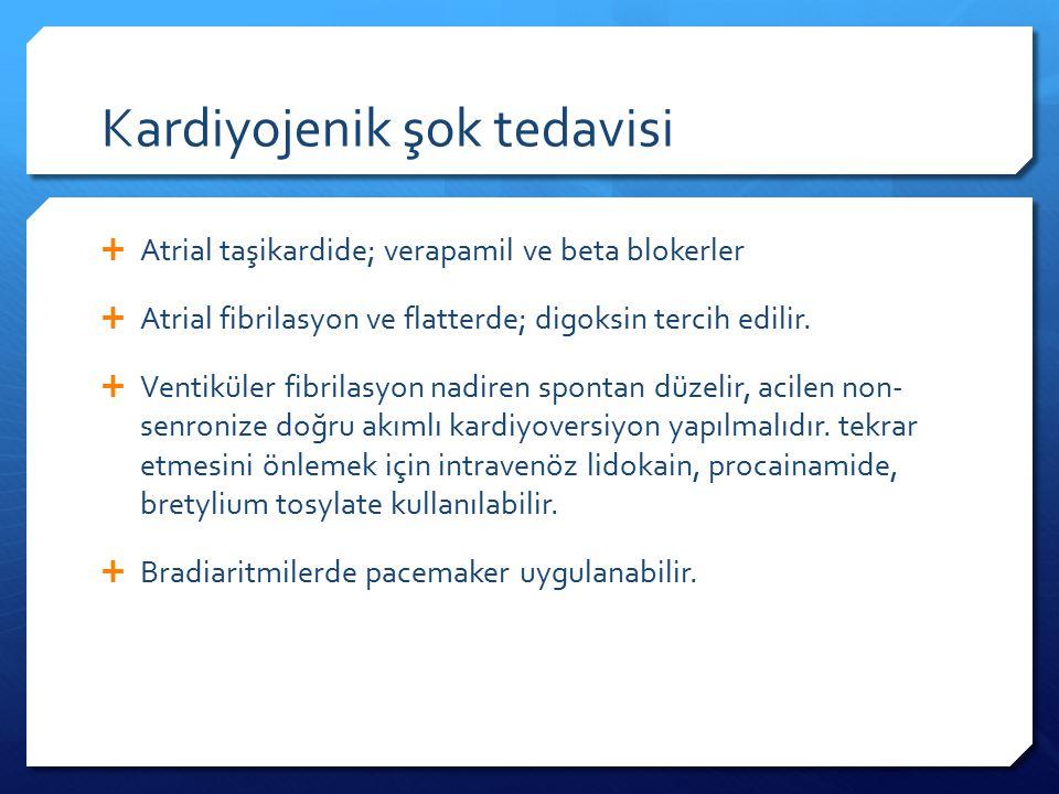 Kardiyojenik şok tedavisi  Atrial taşikardide; verapamil ve beta blokerler  Atrial fibrilasyon ve flatterde; digoksin tercih edilir.