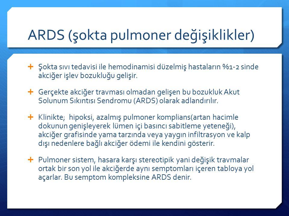 ARDS (şokta pulmoner değişiklikler)  Şokta sıvı tedavisi ile hemodinamisi düzelmiş hastaların %1-2 sinde akciğer işlev bozukluğu gelişir.
