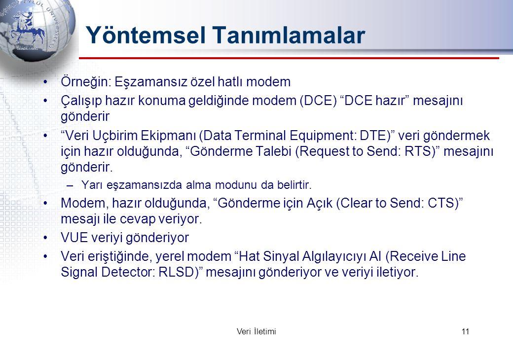 Yöntemsel Tanımlamalar Örneğin: Eşzamansız özel hatlı modem Çalışıp hazır konuma geldiğinde modem (DCE) DCE hazır mesajını gönderir Veri Uçbirim Ekipmanı (Data Terminal Equipment: DTE) veri göndermek için hazır olduğunda, Gönderme Talebi (Request to Send: RTS) mesajını gönderir.