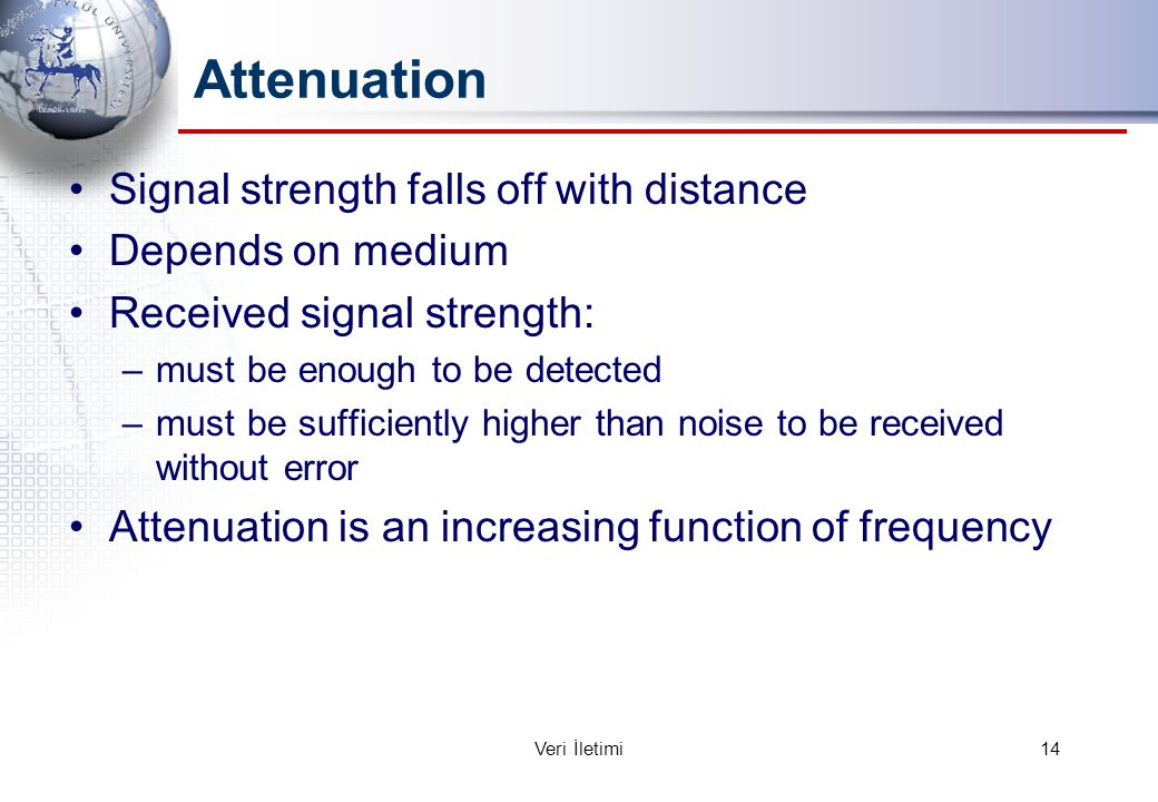 Attenuation Signal strength falls off with distance Depends on medium Received signal strength: –must be enough to be detected –must be sufficiently higher than noise to be received without error Attenuation is an increasing function of frequency 14Veri İletimi