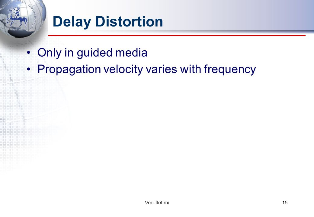 Delay Distortion Only in guided media Propagation velocity varies with frequency 15Veri İletimi