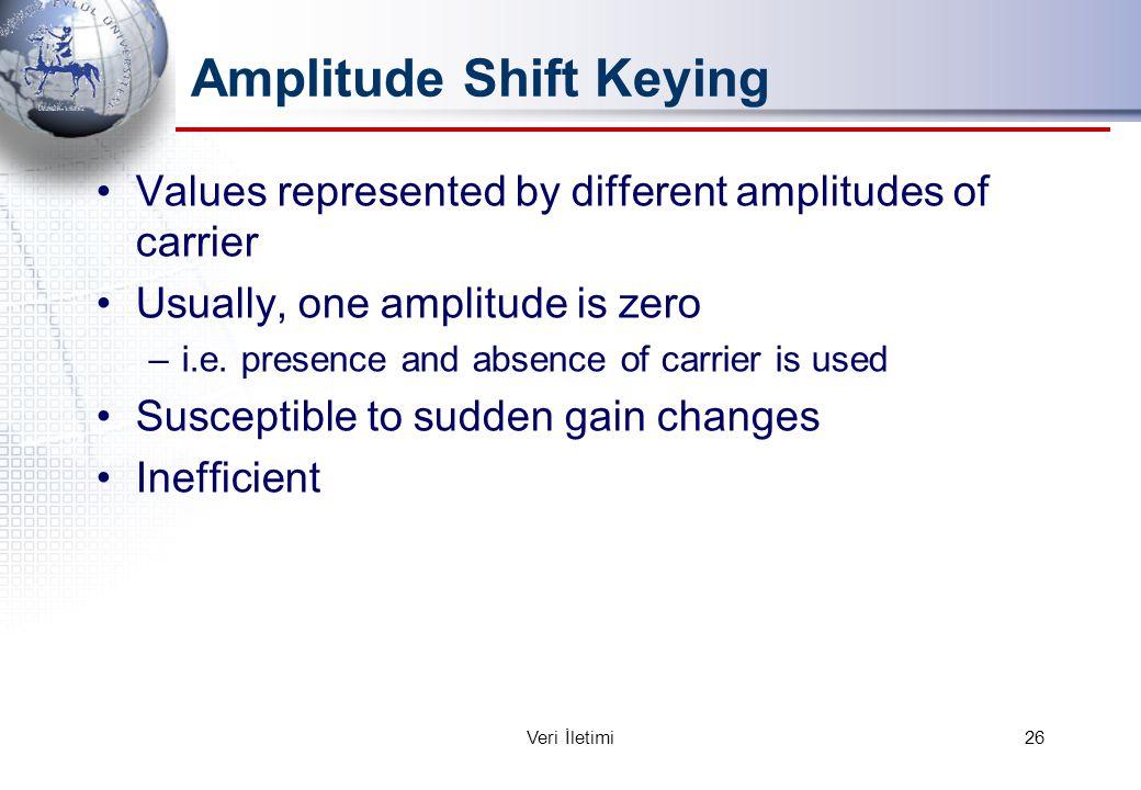 Amplitude Shift Keying Values represented by different amplitudes of carrier Usually, one amplitude is zero –i.e.