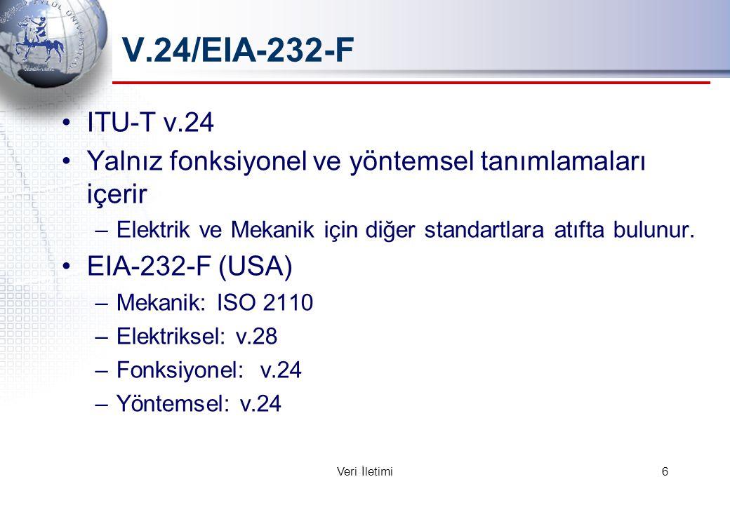 V.24/EIA-232-F ITU-T v.24 Yalnız fonksiyonel ve yöntemsel tanımlamaları içerir –Elektrik ve Mekanik için diğer standartlara atıfta bulunur.