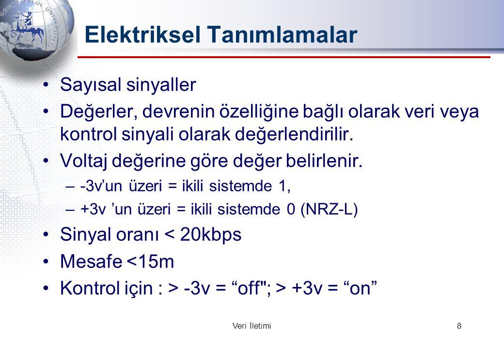 Elektriksel Tanımlamalar Sayısal sinyaller Değerler, devrenin özelliğine bağlı olarak veri veya kontrol sinyali olarak değerlendirilir.