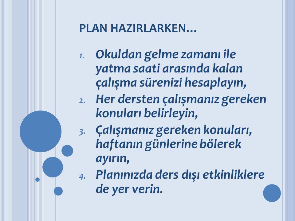 PLAN HAZIRLARKEN… 1.