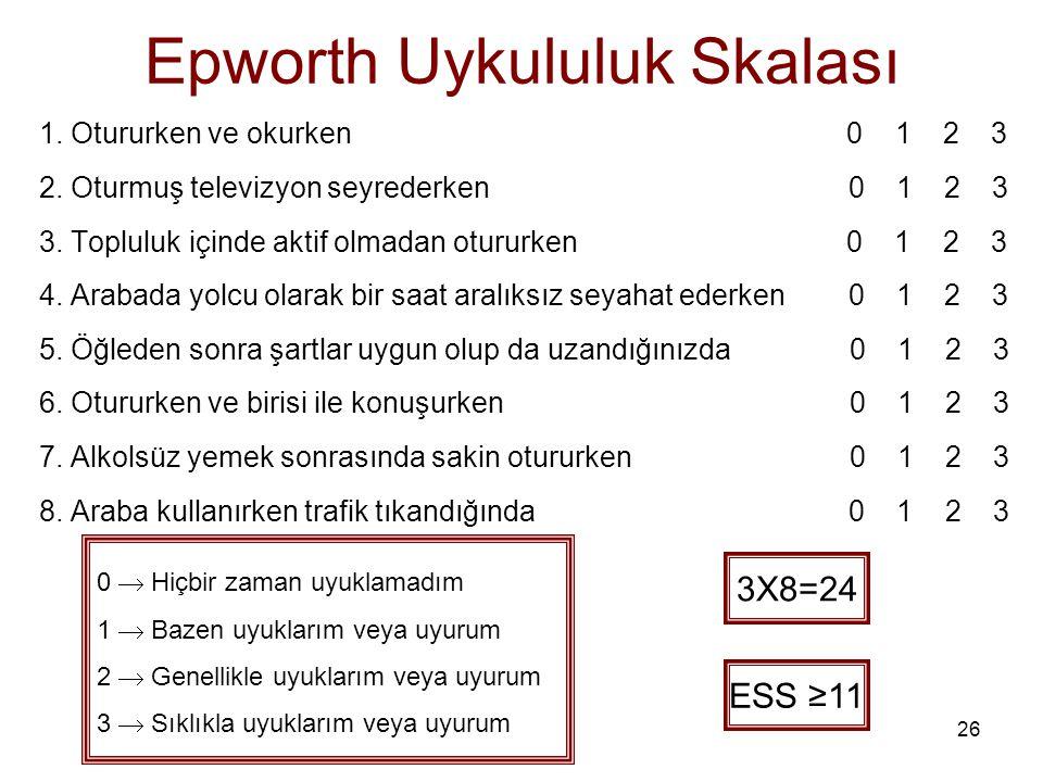 26 Epworth Uykululuk Skalası 1. Otururken ve okurken 0 1 2 3 2. Oturmuş televizyon seyrederken 0 1 2 3 3. Topluluk içinde aktif olmadan otururken 0 1