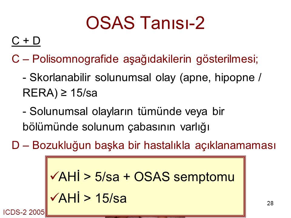 28 OSAS Tanısı-2 C + D C – Polisomnografide aşağıdakilerin gösterilmesi; - Skorlanabilir solunumsal olay (apne, hipopne / RERA) ≥ 15/sa - Solunumsal o