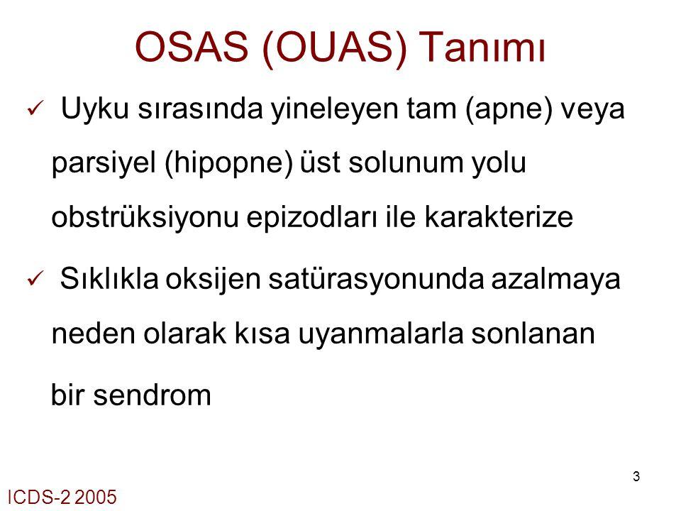 3 OSAS (OUAS) Tanımı Uyku sırasında yineleyen tam (apne) veya parsiyel (hipopne) üst solunum yolu obstrüksiyonu epizodları ile karakterize Sıklıkla ok