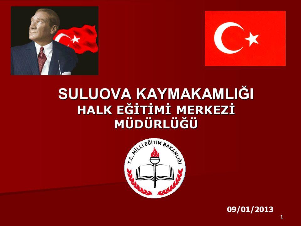 1 SULUOVA KAYMAKAMLIĞI HALK EĞİTİMİ MERKEZİ MÜDÜRLÜĞÜ 09/01/2013