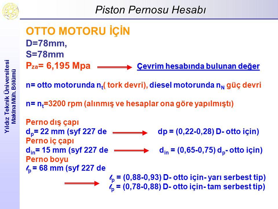 Piston Pernosu Hesabı Yıldız Teknik Üniversitesi Makina Müh. Bölümü OTTO MOTORU İÇİN D=78mm, S=78mm Çevrim hesabında bulunan değer P za = 6,195 Mpa Çe