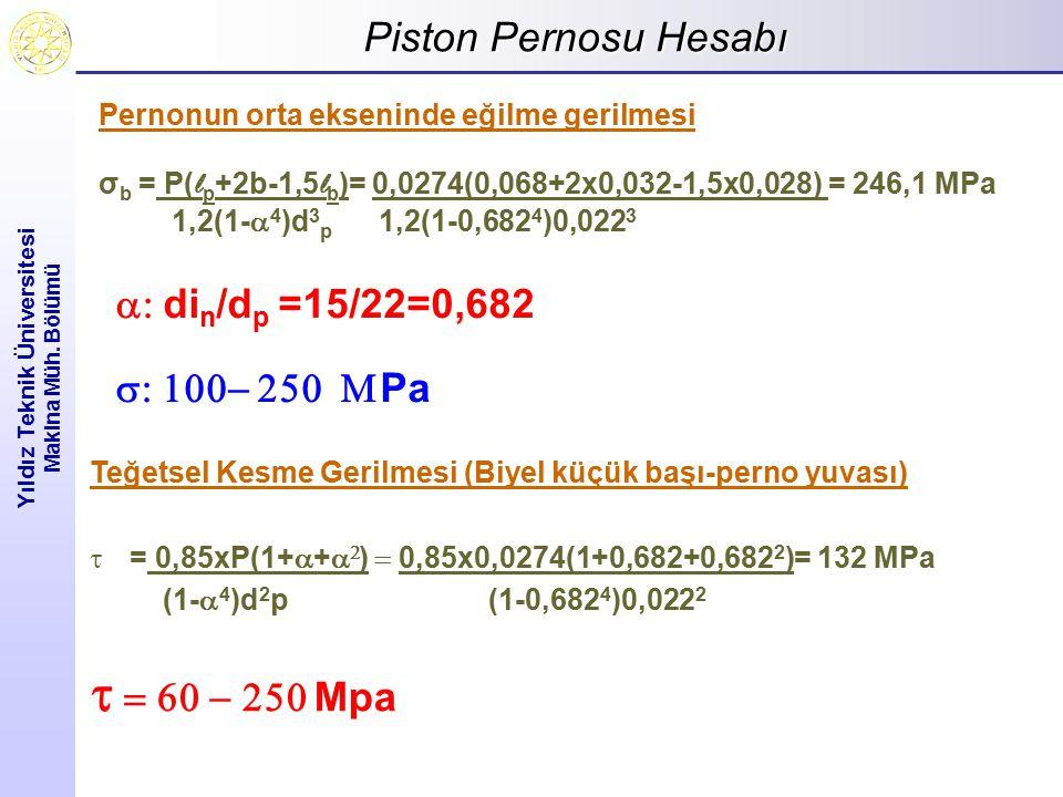 Piston Pernosu Hesabı Yıldız Teknik Üniversitesi Makina Müh. Bölümü Pernonun orta ekseninde eğilme gerilmesi σ b = P( l p +2b-1,5 l b )= 0,0274(0,068+