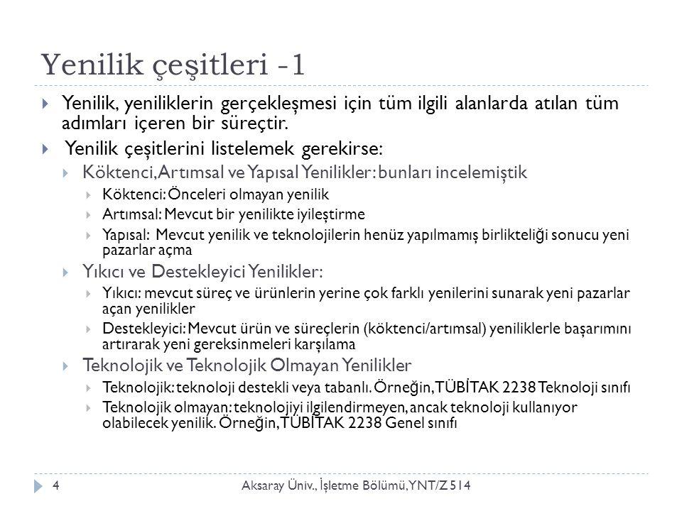 Yenilik çeşitleri -1 Aksaray Üniv., İ şletme Bölümü, YNT/Z 5144  Yenilik, yeniliklerin gerçekleşmesi için tüm ilgili alanlarda atılan tüm adımları içeren bir süreçtir.