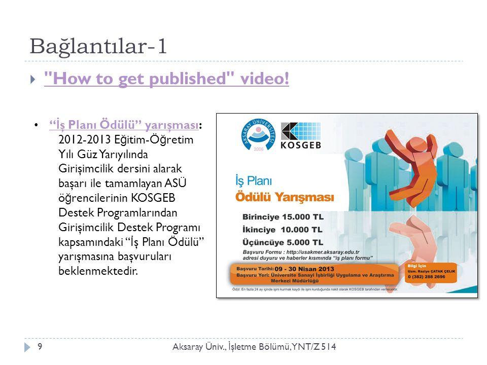 Bağlantılar-1 Aksaray Üniv., İ şletme Bölümü, YNT/Z 5149  How to get published video.