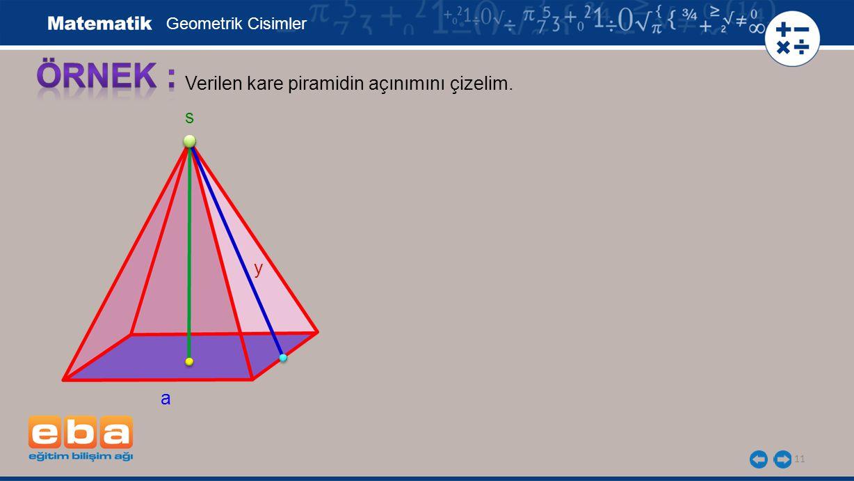 11 Verilen kare piramidin açınımını çizelim. Geometrik Cisimler a y s