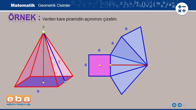 12 Verilen kare piramidin açınımını çizelim. Geometrik Cisimler a y s a a a a