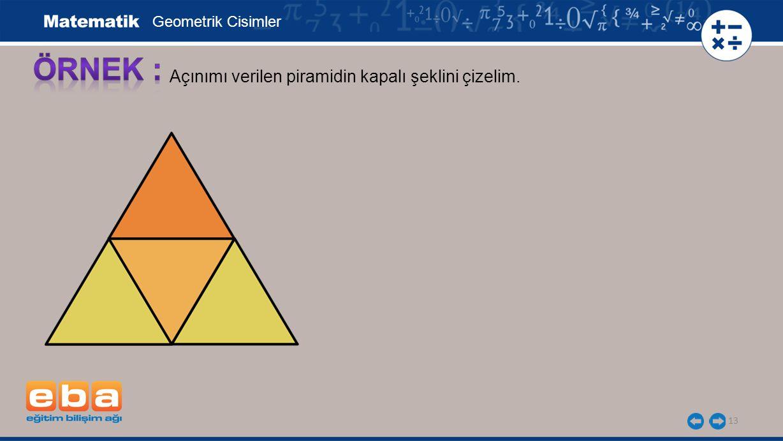 13 Açınımı verilen piramidin kapalı şeklini çizelim. Geometrik Cisimler