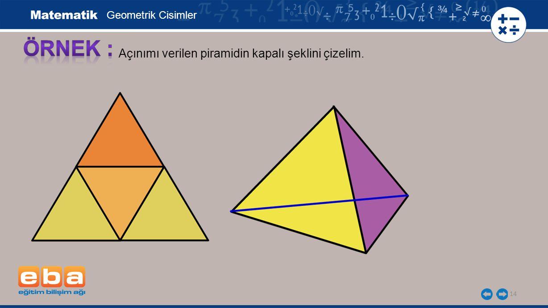 14 Açınımı verilen piramidin kapalı şeklini çizelim. Geometrik Cisimler