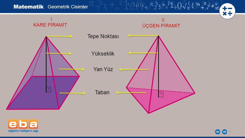 7 Geometrik Cisimler I KARE PİRAMİT Tepe Noktası Yükseklik Yan Yüz Taban. II ÜÇGEN PİRAMİT.