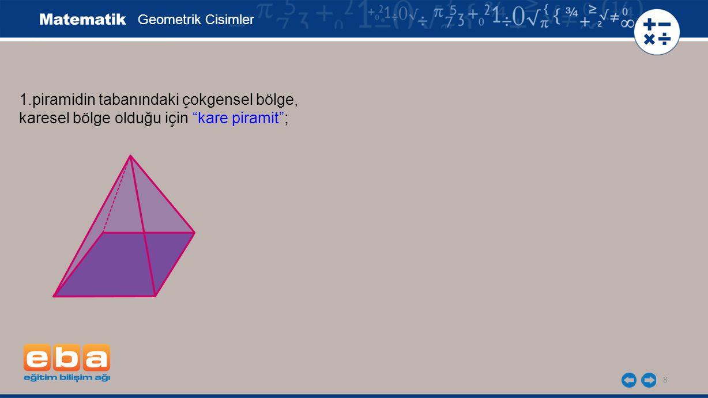 8 1.piramidin tabanındaki çokgensel bölge, karesel bölge olduğu için kare piramit ; Geometrik Cisimler