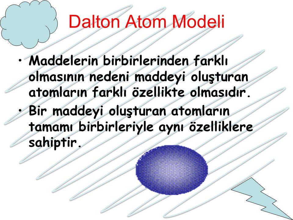 Dalton Atom Modeli Maddelerin birbirlerinden farklı olmasının nedeni maddeyi oluşturan atomların farklı özellikte olmasıdır. Bir maddeyi oluşturan ato