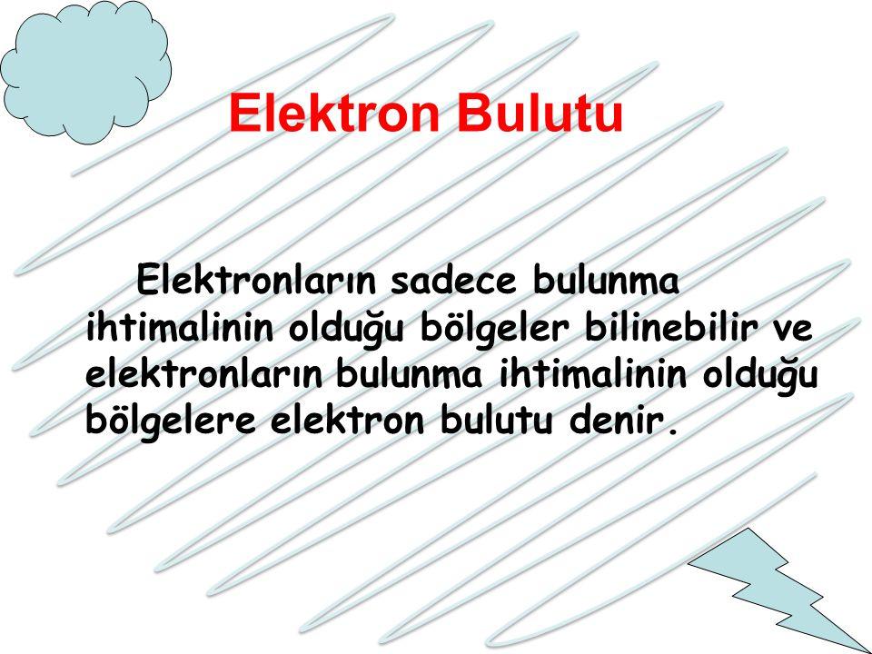 Elektron Bulutu Elektronların sadece bulunma ihtimalinin olduğu bölgeler bilinebilir ve elektronların bulunma ihtimalinin olduğu bölgelere elektron bu