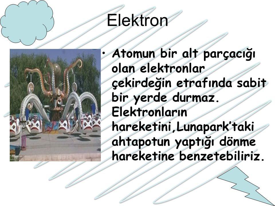 Elektron Atomun bir alt parçacığı olan elektronlar çekirdeğin etrafında sabit bir yerde durmaz. Elektronların hareketini,Lunapark'taki ahtapotun yaptı