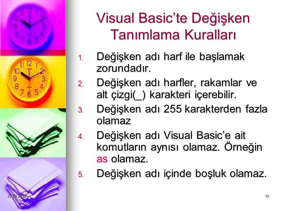 25.04.201510 Visual Basic'te Değişken Tanımlama Kuralları 1.