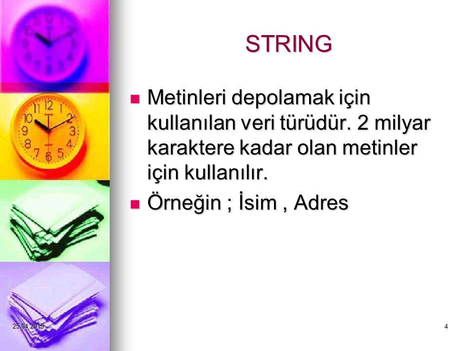 25.04.20154 STRING Metinleri depolamak için kullanılan veri türüdür.