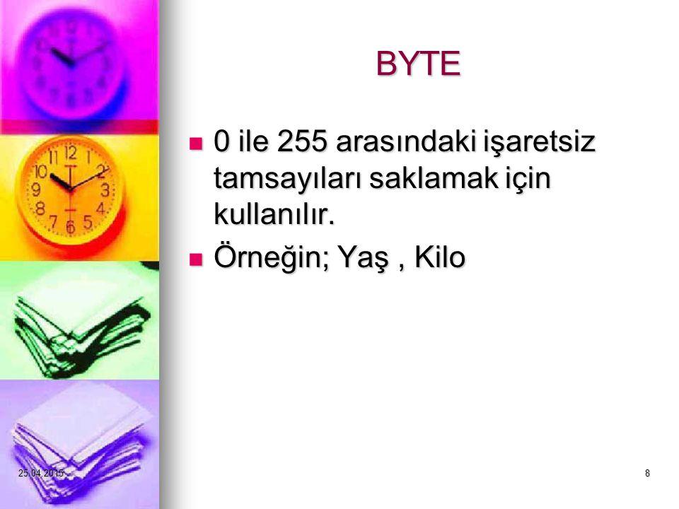 25.04.20158 BYTE 0 ile 255 arasındaki işaretsiz tamsayıları saklamak için kullanılır.