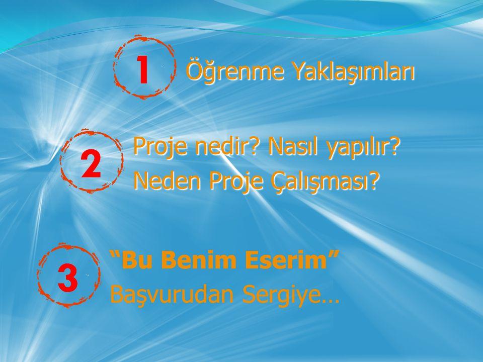 31 Öğrenme Yaklaşımları Öğrenme Yaklaşımları Proje nedir? Nasıl yapılır? Proje nedir? Nasıl yapılır? Neden Proje Çalışması? Neden Proje Çalışması? 23