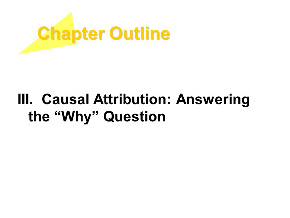 "Chapter Outline III. Causal Attribution: Answering the ""Why"" Question"