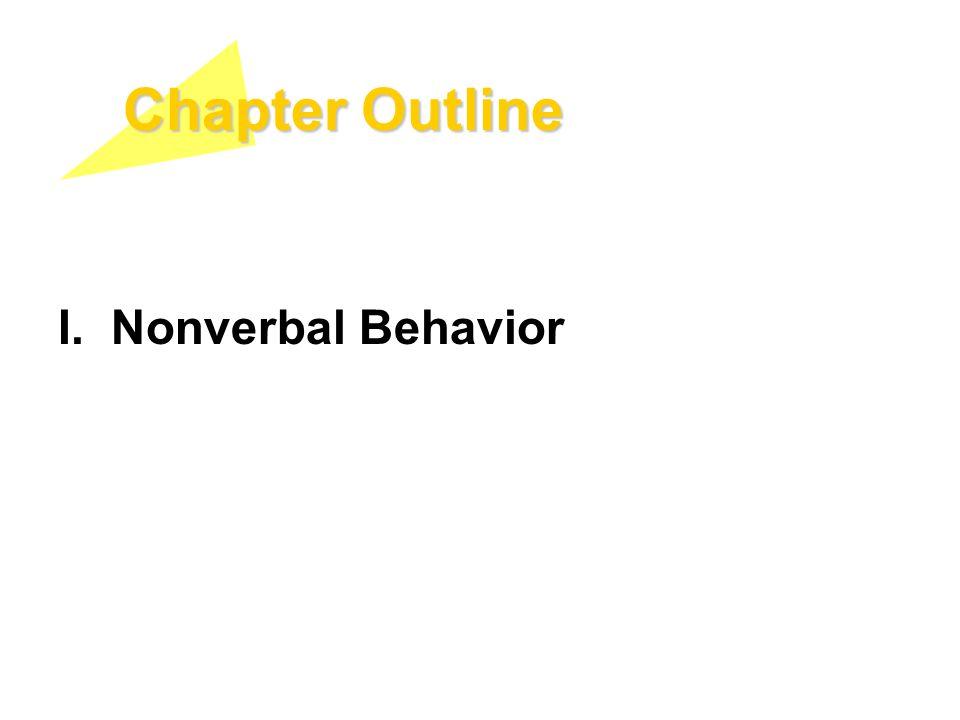 Chapter Outline I. Nonverbal Behavior
