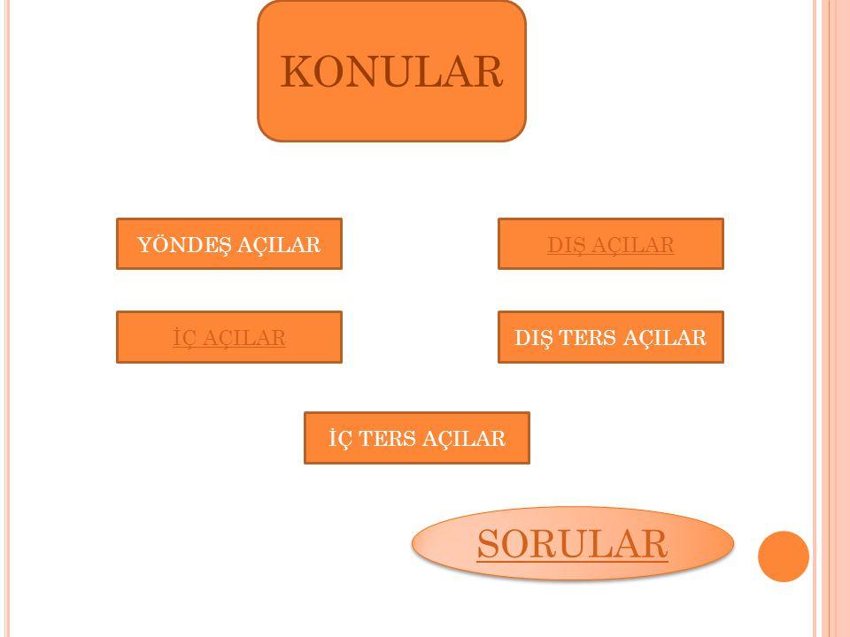 A B C D E F G H YÖNDEŞ AÇILAR Aynı yöne bakan açılara yöndeş açı denir ve bu yöndeş açıların açıları birbirine eşittir.