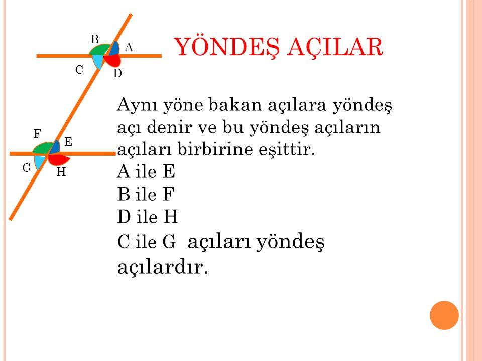 C D E F İÇ AÇILAR Paralel iki doğrunun iç kısmında kalan açılara iç açılar denir.