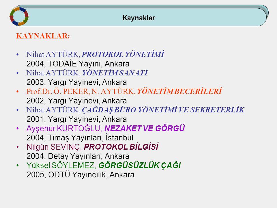 Kaynaklar KAYNAKLAR: Nihat AYTÜRK, PROTOKOL YÖNETİMİ 2004, TODAİE Yayını, Ankara Nihat AYTÜRK, YÖNETİM SANATI 2003, Yargı Yayınevi, Ankara Prof.Dr. Ö.