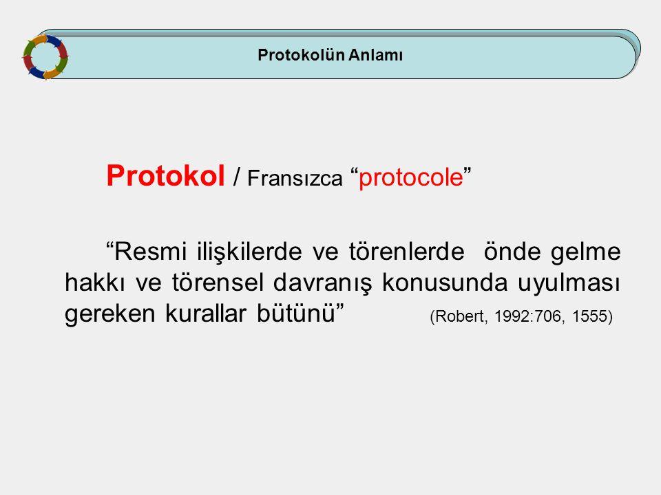 """Protokolün Anlamı Protokol / Fransızca """"protocole"""" """"Resmi ilişkilerde ve törenlerde önde gelme hakkı ve törensel davranış konusunda uyulması gereken k"""