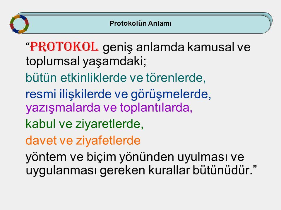 """Protokolün Anlamı """" Protokol geniş anlamda kamusal ve toplumsal yaşamdaki; bütün etkinliklerde ve törenlerde, resmi ilişkilerde ve görüşmelerde, yazış"""