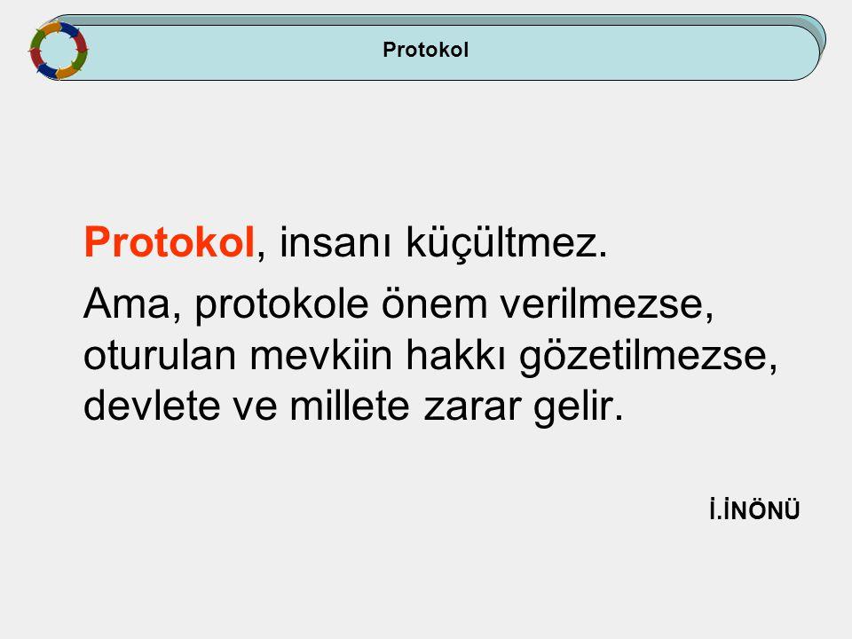 Protokol, insanı küçültmez. Ama, protokole önem verilmezse, oturulan mevkiin hakkı gözetilmezse, devlete ve millete zarar gelir. İ.İNÖNÜ Protokol