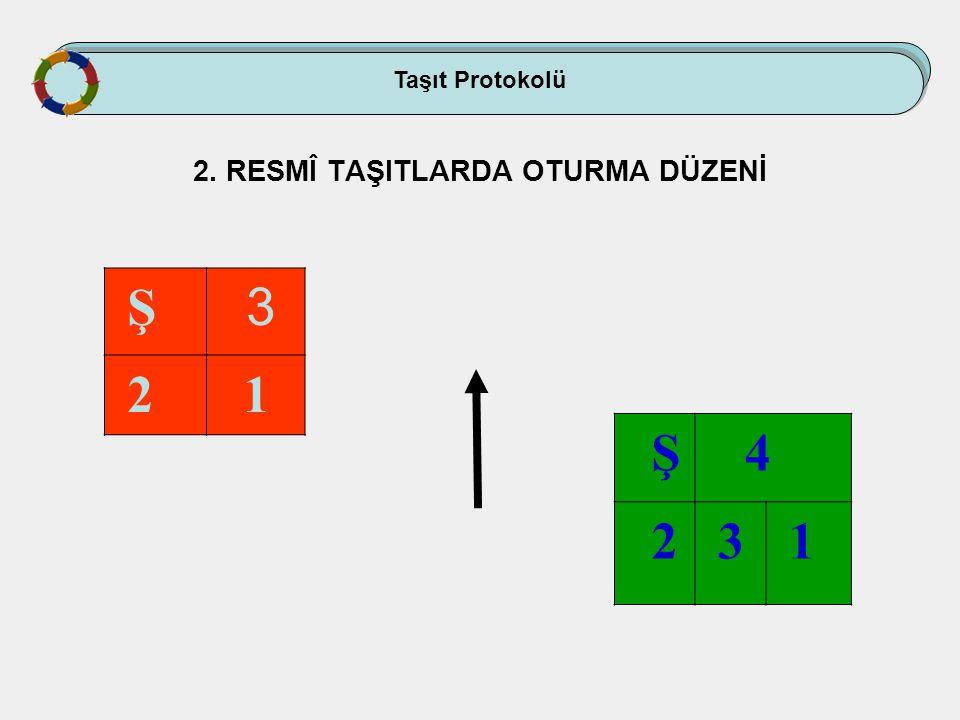 Taşıt Protokolü 2. RESMÎ TAŞITLARDA OTURMA DÜZENİ Ş 3 2 1 Ş 4 2 3 1