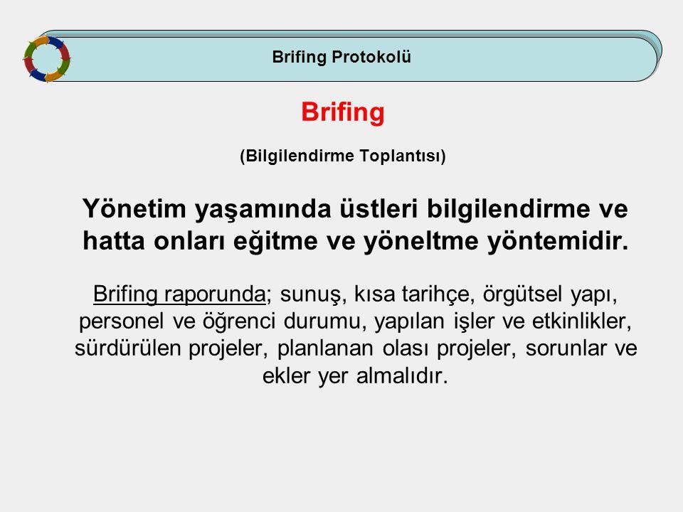 Brifing Protokolü Brifing (Bilgilendirme Toplantısı) Yönetim yaşamında üstleri bilgilendirme ve hatta onları eğitme ve yöneltme yöntemidir. Brifing ra