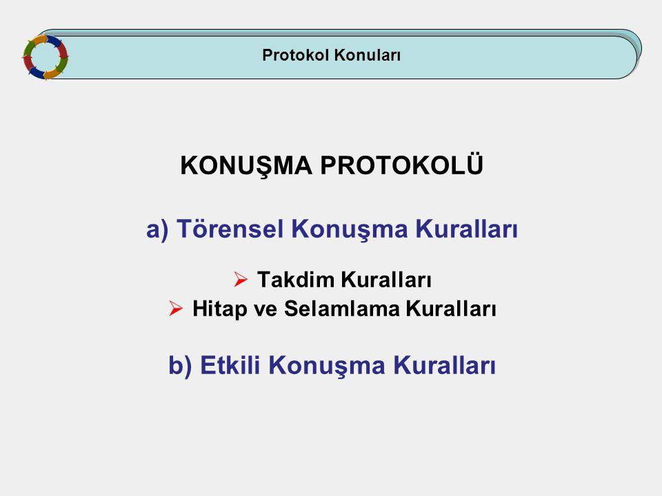 Protokol Konuları KONUŞMA PROTOKOLÜ a) Törensel Konuşma Kuralları  Takdim Kuralları  Hitap ve Selamlama Kuralları b) Etkili Konuşma Kuralları