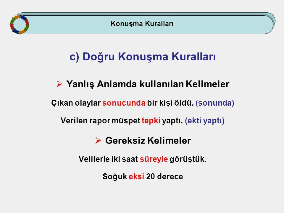 Konuşma Kuralları c) Doğru Konuşma Kuralları  Yanlış Anlamda kullanılan Kelimeler Çıkan olaylar sonucunda bir kişi öldü. (sonunda) Verilen rapor müsp
