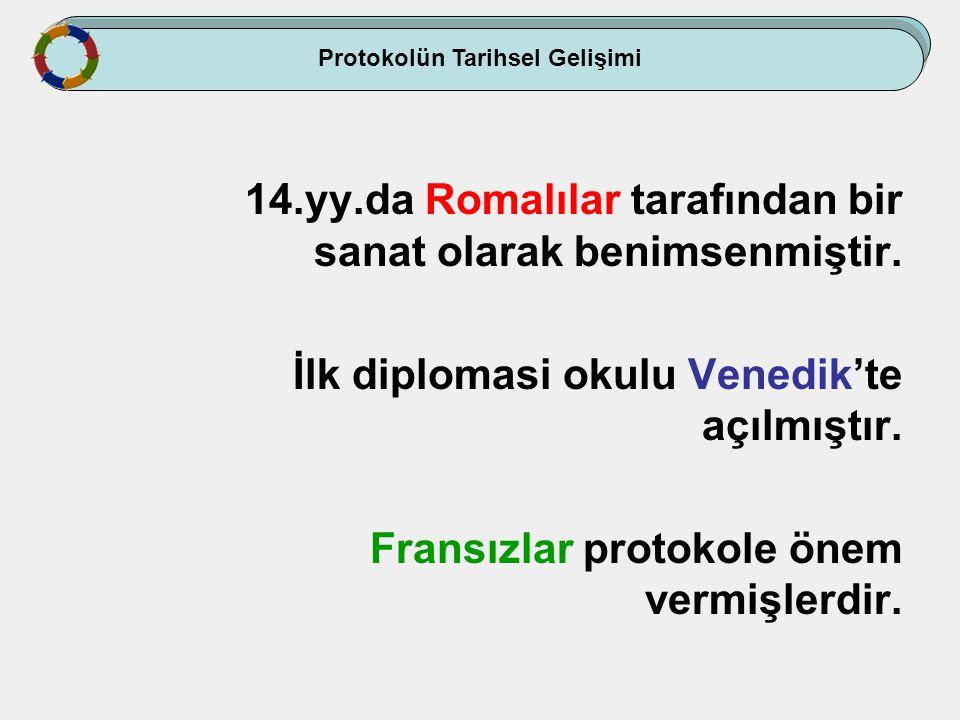 Osmanlı Devleti'nde; İlk daimi diplomatik temsilcilik Fatih döneminde Venedik tarafından İstanbul'da kurulmuştur (1454).